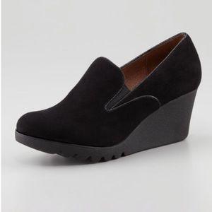 Donald J Pliner Melina black suede wedge loafer